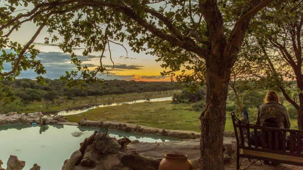 Blick auf den Boteti im Meno a Kwena in Botswana | Abendsonne Afrika
