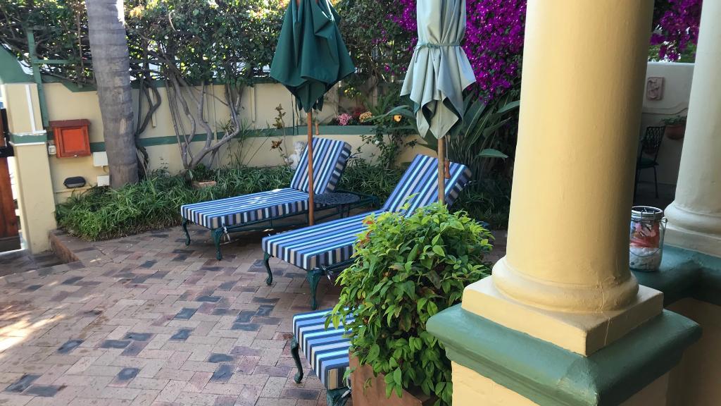 Blick in den Garten des Olaf's Guest House in Südafrika | Abendsonne Afrika