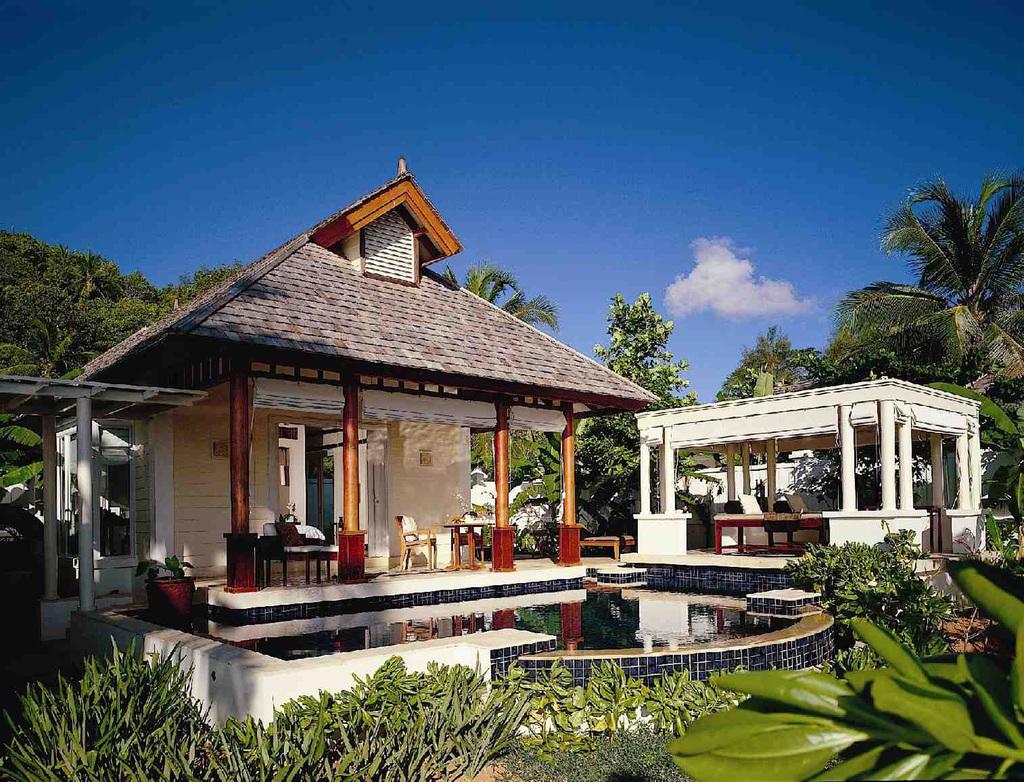 Villa des Banyan Tree Seychelles auf den Seychellen   Abendsonne Afrika