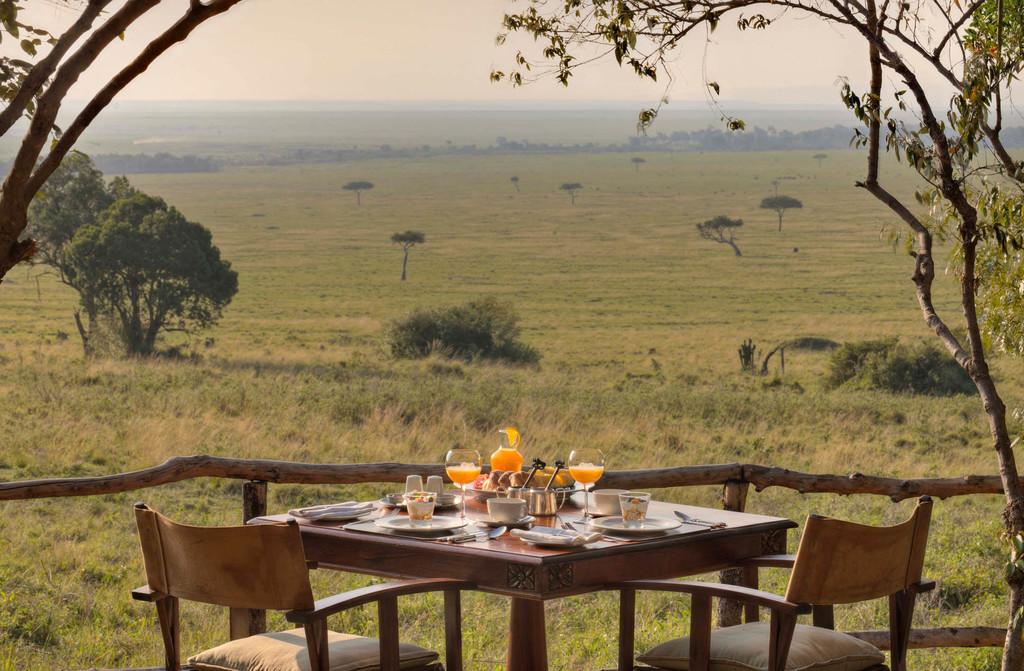 Ausblick beim Frühstück im Bateleur Camp in Kenia | Abendsonne Afrika