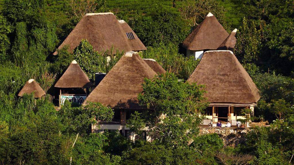 Überblick der Bwindi Lodge in Uganda | Abendsonne Afrika