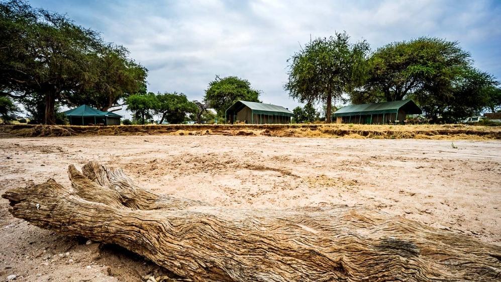 Blick auf das Tarangire View Camp in Tansania   Abendsonne Afrika