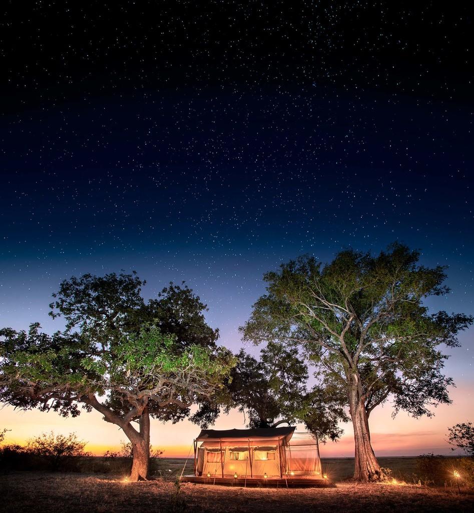 Sternenhimmel über dem Linyanti Expeditions Camp in Botswana   Abendsonne Afrika