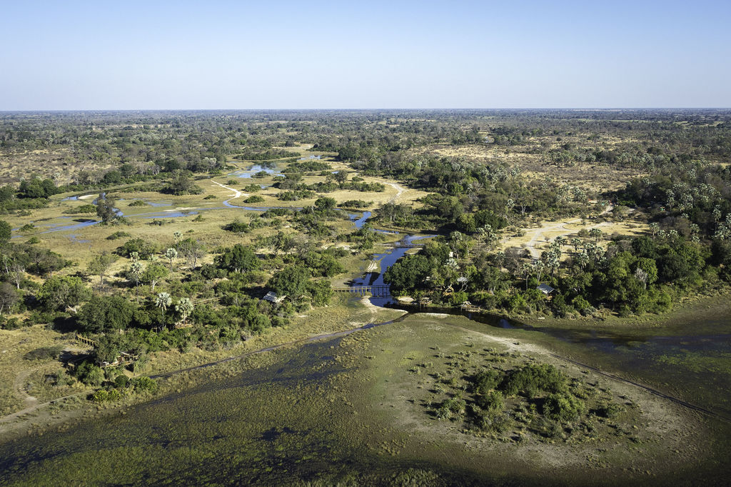 Luftaufnahme vom Little Tubu in Botswana | Abendsonne Afrika
