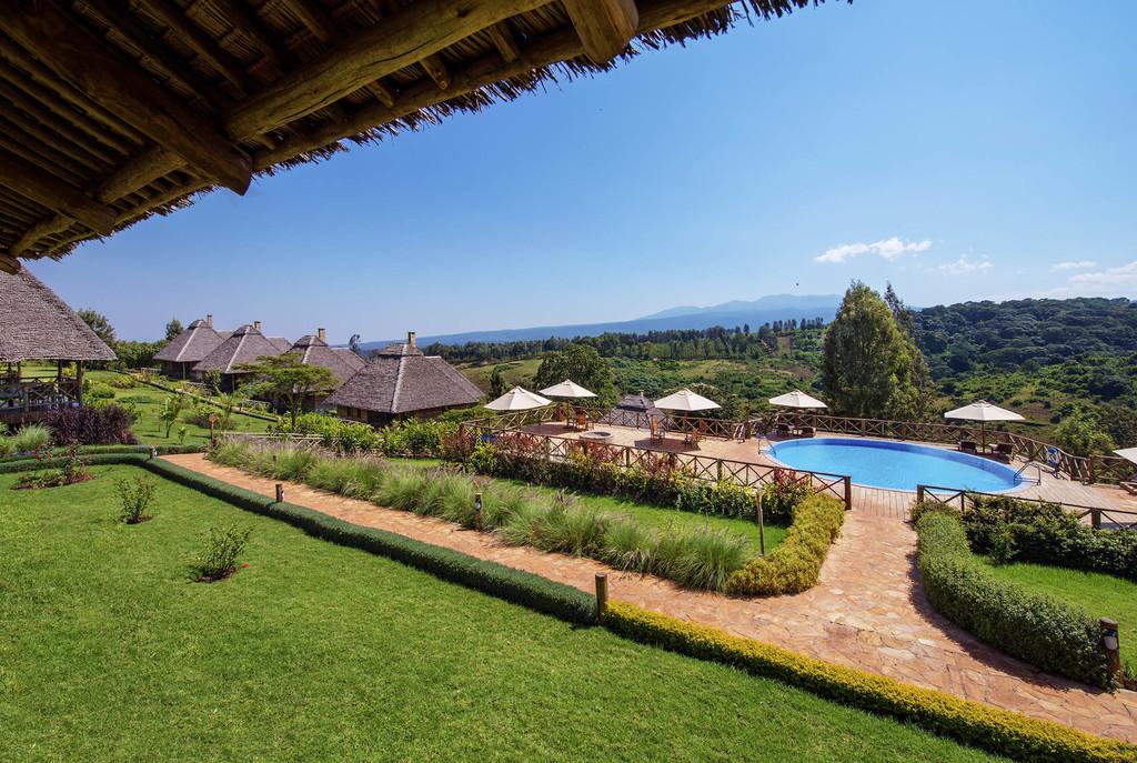Ausblick von der Neptune Ngorongoro Luxury Lodge in Tansania | Abendsonne Afrika