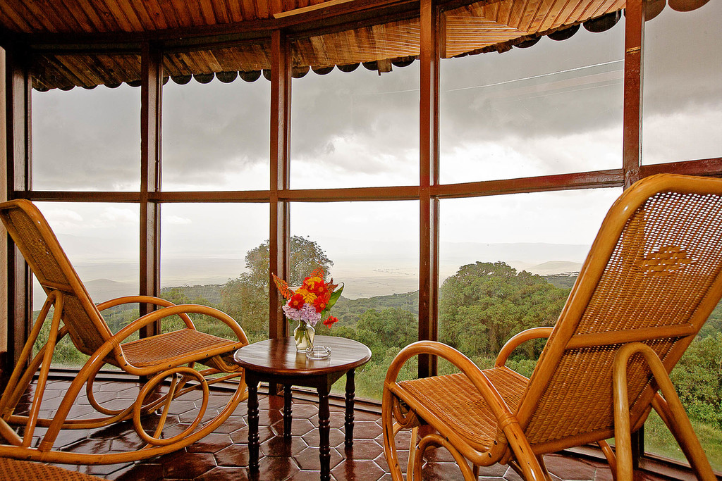 Ausblick von der Ngorongoro Sopa Lodge in Tansania | Abendsonne Afrika