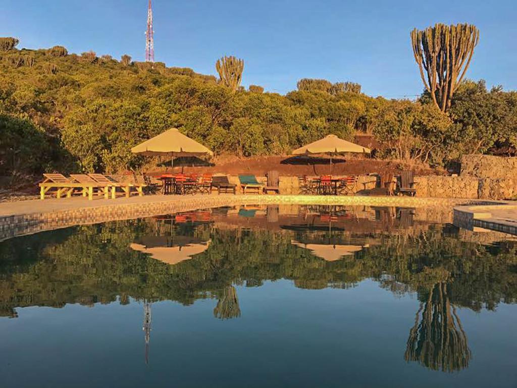Pool des Olpejetas in Kenia | Abendsonne Afrika