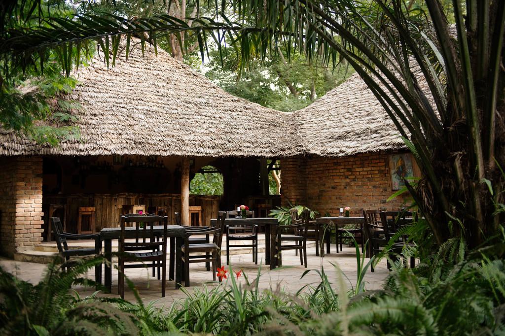 Außenbereich des Restaurants des Rivertrees Country Inns in Tansania | Abendsonne Afrika