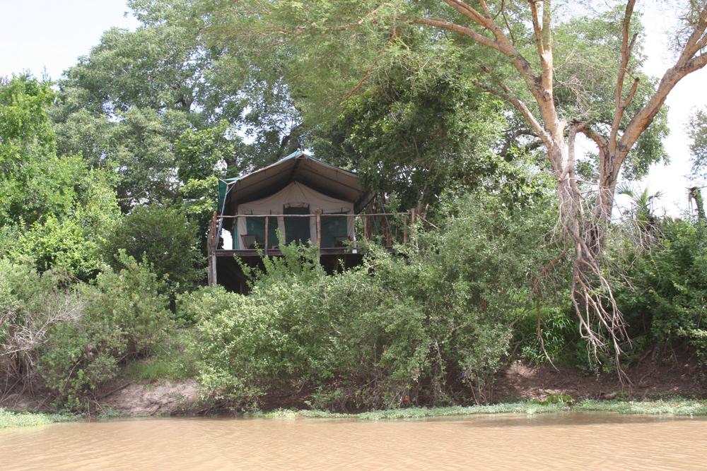 Blick auf ein Zelt des Selous Impala Camps in Tansania | Abendsonne Afrika