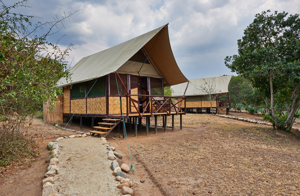 Zelt in der The Bush Lodge in Uganda | Abendsonne Afrika