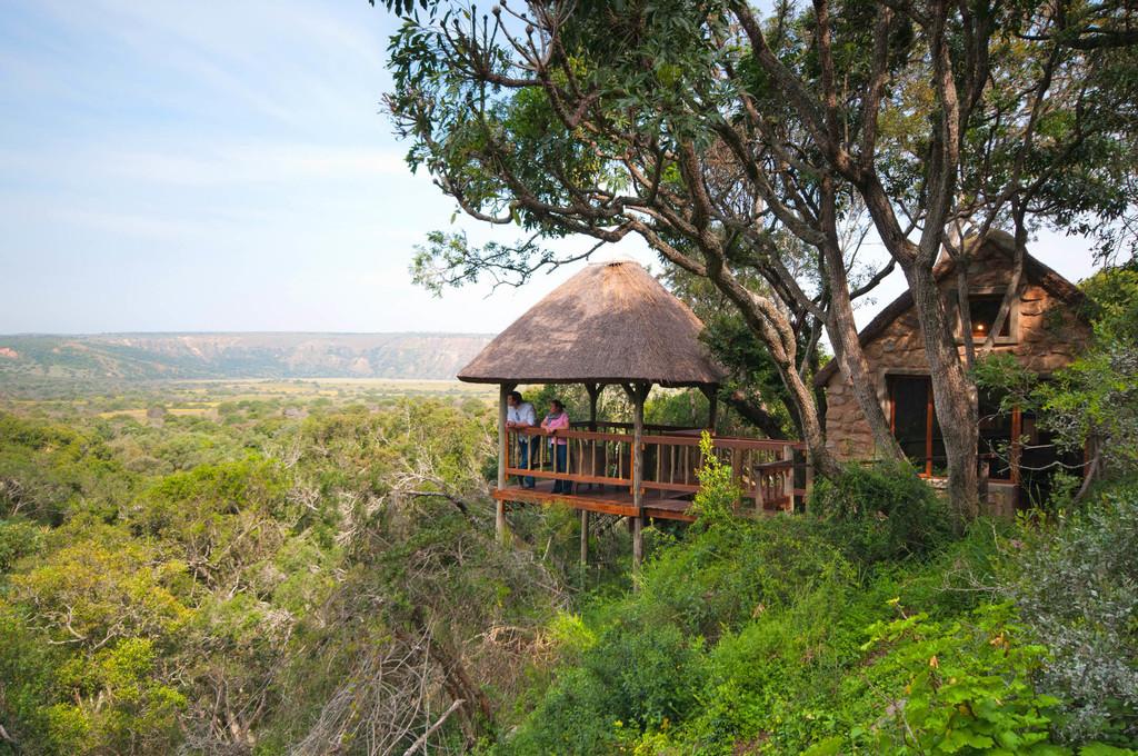 Ausblick von der Woodburry Lodge in Südafrika | Abendsonne Afrika