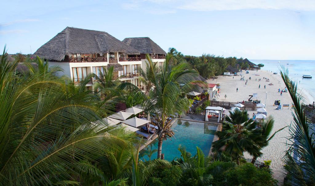 Blick auf das Z Hotel auf Sansibar   Abendsonne Afrika