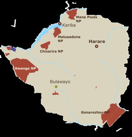 Simbabwe Karte