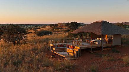 Lodge im Tswalu Kalahari Game Reserve in Südafrika | Abendsonne Afrika