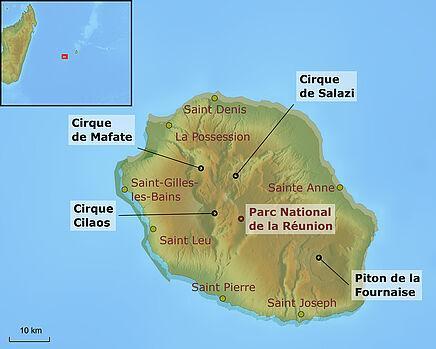 Karte La Réunion | Abendsonne Afrika