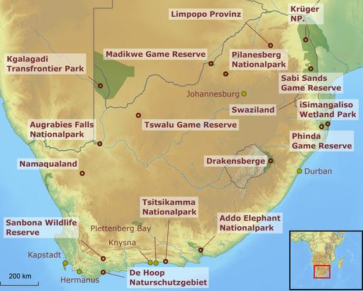 Südafrika Karte Nationalparks