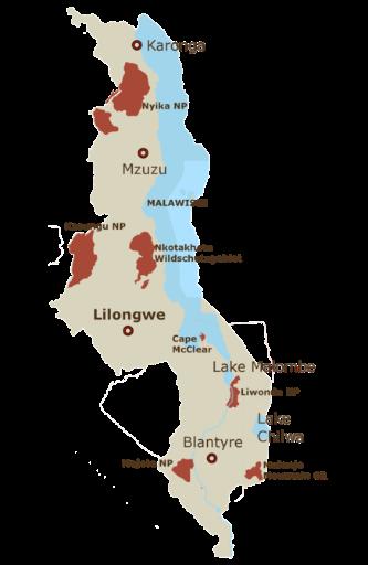 Malawi Karte