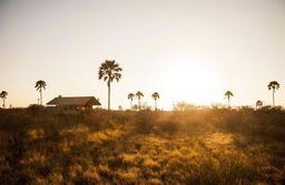 Außenansicht eines Zeltchalets im Camp Kalahari in Botswana | Abendsonne Afrika