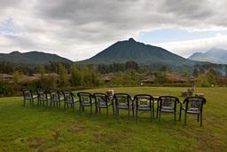 Ausblick von der Gorilla Mountain View Lodge in Ruanda | Abendsonne Afrika