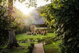 Garten des Gorilla Forest Camp in Uganda | Abendsonne Afrika