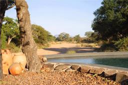 Ausblick vom Pool des Jongomero Camps in Tansania | Abendsonne Afrika