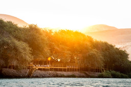 Flussansicht der Serra Cafema in Namibia | Abendsonne Afrika