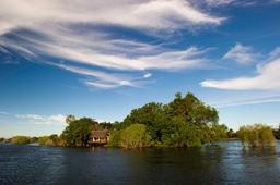 Sambesi-Fluss vor dem Sindabezi Island Camp in Sambia | Abendsonne Afrika