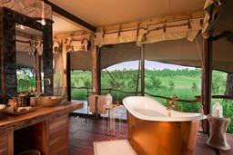 Badezimmer im Somalisa Camp in Simbabwe | Abendsonne Afrika