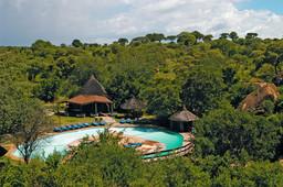 Blick auf die Tarangire Sopa Lodge in Tansania | Abendsonne Afrika