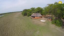Luftansicht der Wasa Lodge in Sambia | Abendsonne Afrika